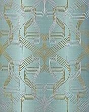 Grafik-Tapete EDEM 507-25 Designer Tapete strukturiert mit abstraktem Muster und metallischen Akzenten petrol perl-gold silber 5,33 m2
