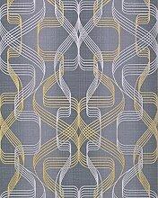 Grafik-Tapete EDEM 507-26 Designer Tapete strukturiert mit abstraktem Muster und metallischen Akzenten basalt-grau perl-gold silber 5,33 m2