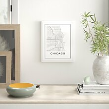 Grafikdruck Chicago City Map East Urban Home