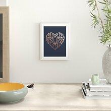 Grafikdruck Copper Love Heart Navy Background