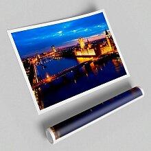 Grafikdruck Luftbild der Londoner Nachtlichter in