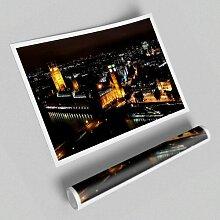 Grafikdruck Luftbild der Londoner Nachtlichter