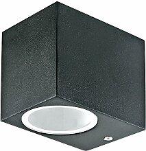 Grafner® Aluminium Außenleuchte eckig schwarz Wandlampe Down Aussenlampe 1x GU10 IP44 37WB