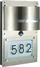 Grafner® Edelstahl Wandlampe mit Hausnummer