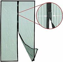 Grafner® INSEKTENSCHUTZ MAGNET TÜRVORHANG FLIEGENGITTER FLIEGENNETZ FLIEGENSCHUTZ VORHANG Magnetisch Magnetvorhang Moskitonetz 100x210cm schwarz trans