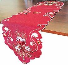 GRANDDECO Tischläufer, Weihnachtsmotiv, 33 x 137