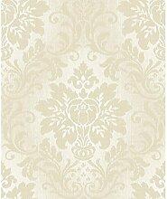 Grandeco Tapete–Luxus Royal Damast–Stoff/Ivory Silber Glitzer–a10905