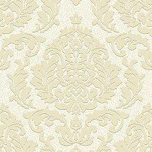 Grandeco - Tapete Palazzo Damast Blatt Quadrat Texturierte Designer Tapete Non-Woven - Weiß Gold PL-41101