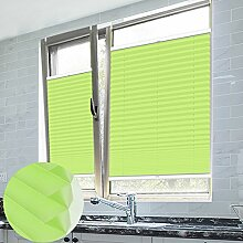 Grandekor Plissee Klemmfix Plisseerollo ohne Bohren Grün 90X130cm(BxH) EasyFix Jalousie Sonnenschutz für Fenster & Türn