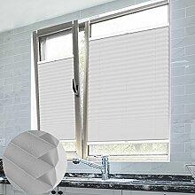 Grandekor Plissee Klemmfix Plisseerollo ohne Bohren Hellgrau 35X100cm(BxH) EasyFix Jalousie Sonnenschutz für Fenster & Türn