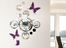 Grandora 1091W Moderne Wanduhr im Spiegel Design + Schmetterlinge Wandtattoo hellblau