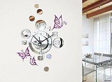 Grandora W3011 Moderne Wanduhr im Spiegel Design + Schmetterlinge Wandtattoo hellblau
