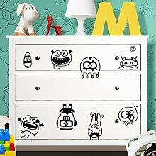 Grandora W5227 Wandtattoo Monster passend für IKEA HEMNES Kommode hellorange