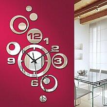 Grandora W842 Moderne Wanduhr mit Spiegel Uhr Uhrwerk 3D Design selbstklebend