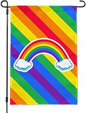 GRAPHICS & MORE Doppelter Regenbogen mit Wolken