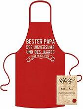 GRATIS Urkunde mit Cooler Kochschürze Motiv Bester Papa des Universums als Top Geschenke-Idee Farbe:ro