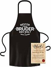 GRATIS Urkunde mit Hammer Cooler Motiv-Fun-Schürze Bester kleiner Bruder der Welt als ideales Geschenk Farbe:schwarz