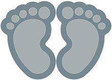(Grau) 10 Stück Fußbodenaufkleber Kinderfüße