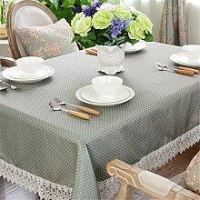 grau blau Gepunktet Spitze Tischdecken Baumwolle leinen Modern minimalistisch Esstisch Rezeption rechteckigen Square nicht bügeln umweltfreundlich garten Tischtuch