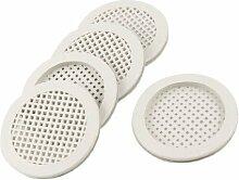 Grau Küche Badezimmer Kunststoff rund 5,1cm Auslass Becken Sieb 5PCS