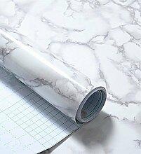 Grau Marmor Optik Kontakt Papier Glänzende Folie Vinyl Selbstklebende Rückseite Granit Wandregal rutschsicher Abziehen und Aufkleben Wand Aufkleber zum Abdecken Counter Top Küche Schrank (61x 495,3cm)