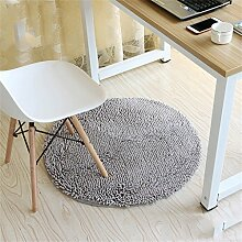 Grau Mode runden Teppich Schlafzimmer Wohnzimmer Bedside Korb Decke Studie Computer Stuhl Drehstuhl Stuhl Teppich rutschfeste Fuß Pad Yoga Matten ( größe : Durchmesser 60cm )