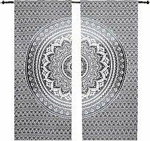 Grau Ombré schwarz & weiß Mandala Vorhang Set,