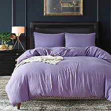 Grau Pompon Bettbezug Sets–memorecool Haustierhaus 100% Polyester Pure Color Heimtextilien American Größe Twin, Polyester, violett, King Size