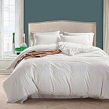 Grau Pompon Bettbezug Sets–memorecool Haustierhaus 100% Polyester Pure Color Heimtextilien American Größe Twin, Polyester, weiß, Queen