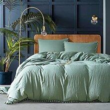 Grau Pompon Bettbezug Sets–memorecool Haustierhaus 100% Polyester Pure Color Heimtextilien American Größe Twin, Polyester, grün, King Size
