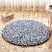 Grau runde teppich / dicke teppich matratze / computer stuhl stuhl stuhl korb hoist mat / kinder schlafzimmer nacht wohnzimmer studie schreibtisch rutschfeste matte ( größe : Diameter 100cm )