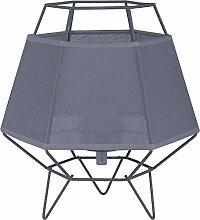 Graue Tischleuchte Draht Schirm 25cm hoch offenes