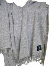 Graue Wolldecke aus 100% neuseeländischer Schurwolle, ca 200x130cm mit Fransen, 850g