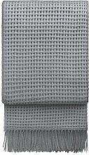Graue Wolldecke mit 35% Alpaka 'Basket', 130x200 cm mit Fransen, ca 1000g