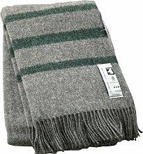 Graue Wolldecke mit dunkelgrünen Streifen aus 100% skandinavischer Schurwolle, ca 200x130cm mit Fransen, 860g