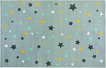 Grauer Baumwollteppich mit Motiven 180x120