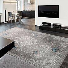Grauer Teppich für Bad Flur waschbar und rutschfester Rücken , sehr pflegeleicht mit Kelim Kilim Oberfläche hochwertige Verarbeitung Vintage Design (160cm x 230cm)