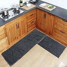 Grauer Teppich für Küche, Shaggy, Chenille,
