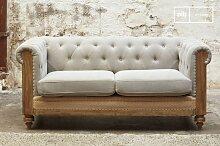 Graues Chesterfield Montaigu 2-Sitzer Sofa
