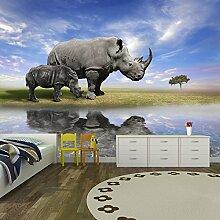 Graues Nashorn Wandbild Dschungel Tiere Foto-Tapete Kinder Schlafzimmer Haus Dekor Erhältlich in 8 Größen Extraklein Digital