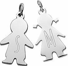 Gravado Halskette aus Edelstahl mit 2 Kinder Anhängern – Farbe Silber – Junge und Mädchen – Personalisiert mit einem [Buchstaben] – Kinderkette – Mit Geschenkbox – Damenschmuck – Mutter Geschenk