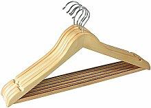 Gravidus 5er Set Kleiderbügel aus Holz, mit Hosenstange