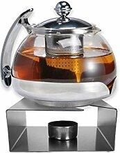 Gravidus Teekanne Glas mit Stövchen aus Edelstahl