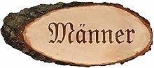 Gravierte ovale Rindenbretter Holzbrett Baumscheibe Türschild, Brettgröße:ca. 50 cm lang, Motiv:Männer