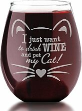 Gravur Cute Cat Lover I Just Want To Drink Wine