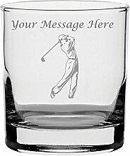 Gravur personalisierbar Whisky Glas mit Golfer