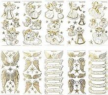 Gravur-Sticker, transparent/gold, 10 Bogen à 10 x