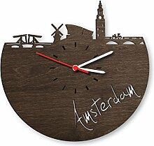 GRAVURZEILE Amsterdam Wanduhr aus Eichen-Holz