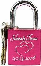 GRAVURZEILE Liebesschloss in Pink mit Gravur -