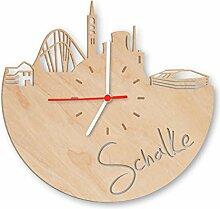 GRAVURZEILE Skyline Schalke Wanduhr aus